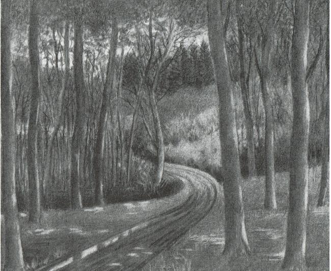 Sortkridttegning af Martin Skovbo